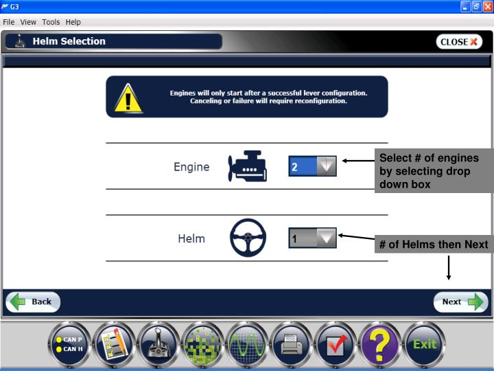 Select # of engines by selecting drop down box