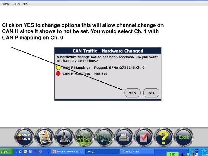Click on YES to change options this will allow channel change on CAN H since it shows to not be set. You would select Ch. 1 with CAN P mapping on Ch. 0