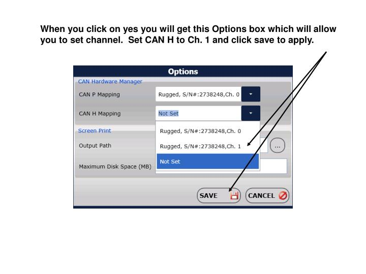 When you click on yes you will get this Options box which will allow you to set channel.  Set CAN H to Ch. 1 and click save to apply.