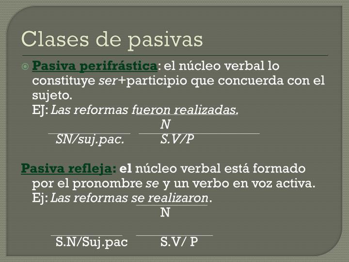 Clases de pasivas