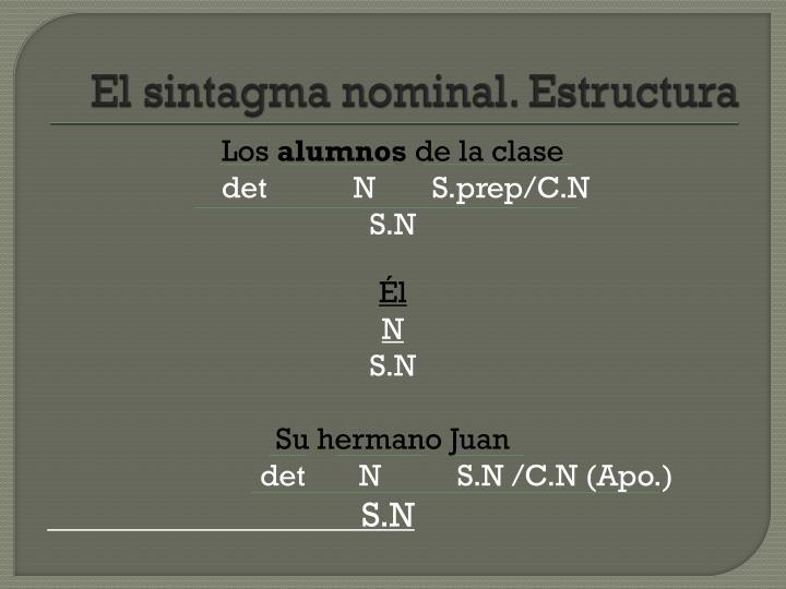 El sintagma nominal. Estructura