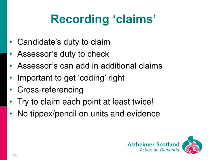 Recording 'claims'