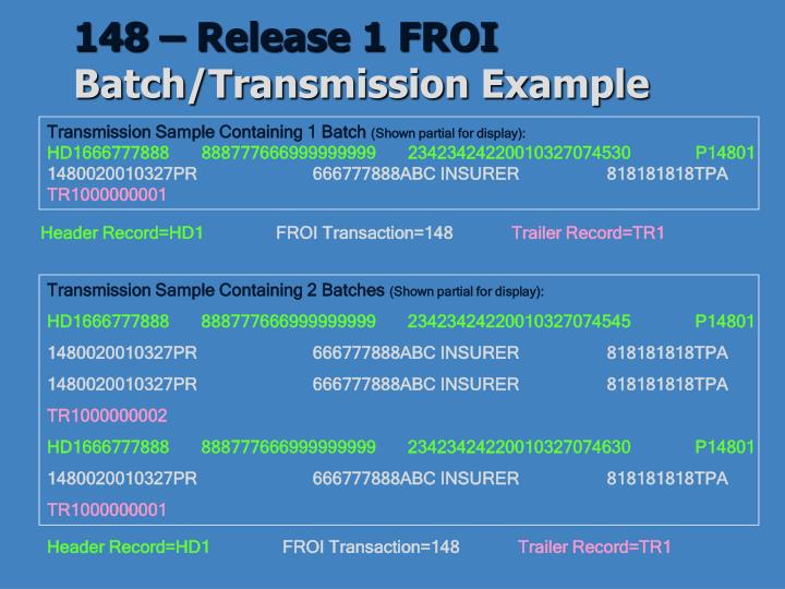 148 – Release 1 FROI