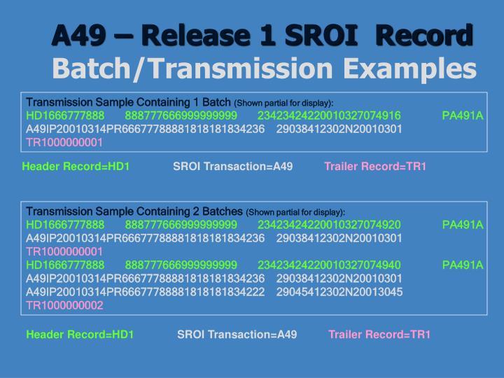A49 – Release 1 SROI  Record