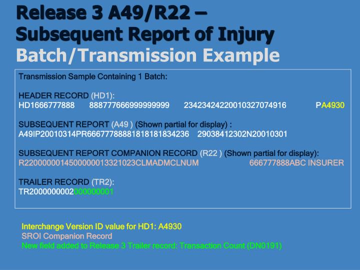 Release 3 A49/R22 –