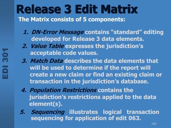 Release 3 Edit Matrix