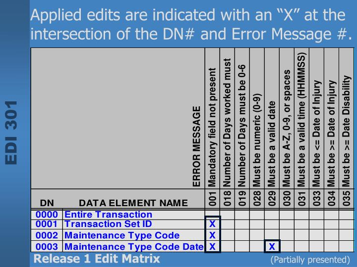 """Applied edits are indicated with an """"X"""" at the intersection of the DN# and Error Message #."""