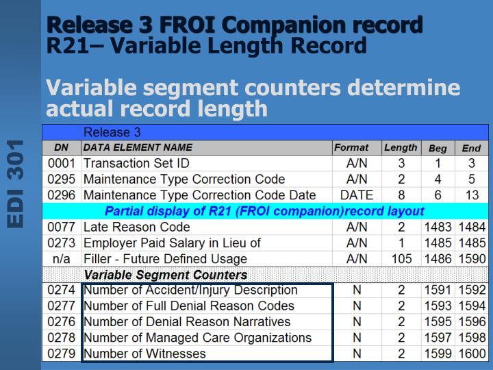 Release 3 FROI Companion record