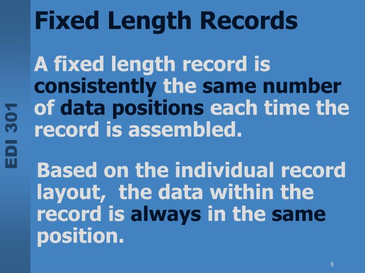 A fixed length record is