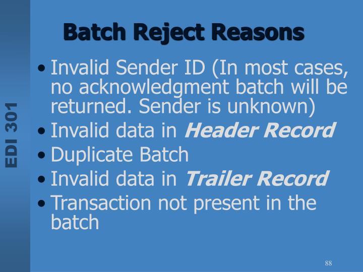 Batch Reject Reasons