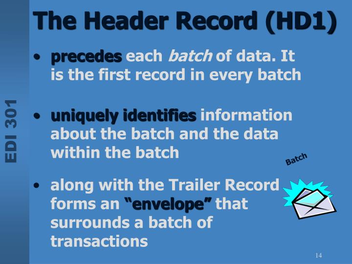 The Header Record (HD1)