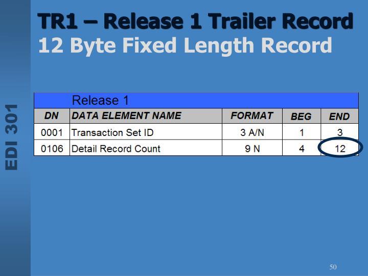 TR1 – Release 1 Trailer Record
