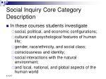 social inquiry core category description