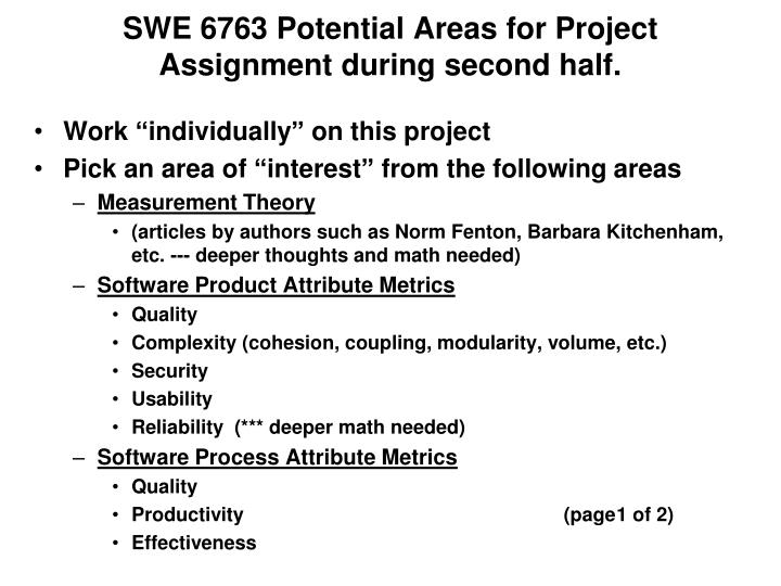 swe 6763 potential areas for project assignment during second half n.