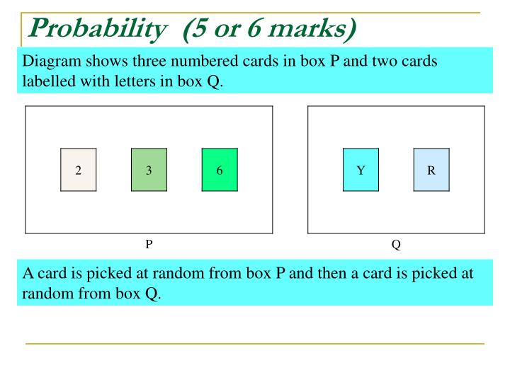 Probability  (5 or 6 marks)