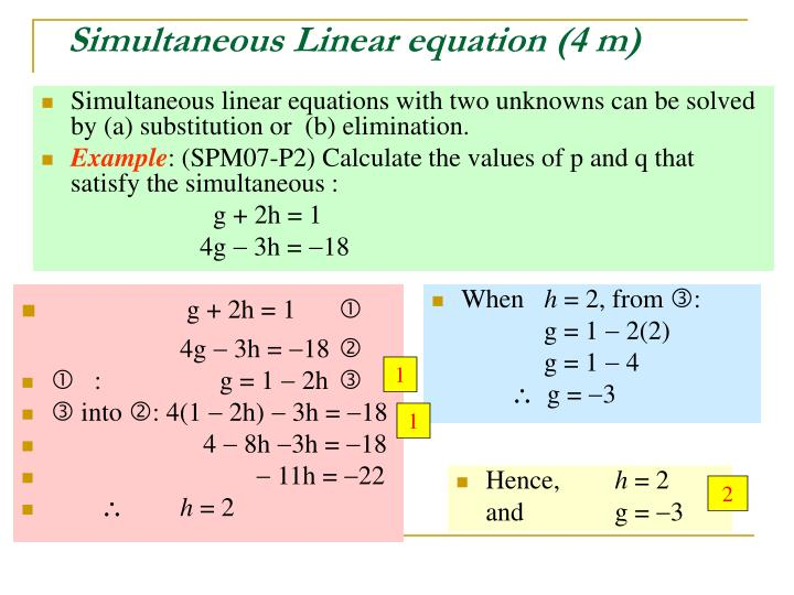 Simultaneous linear equation 4 m