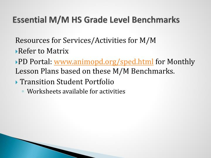Essential M/M HS Grade Level Benchmarks