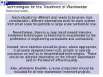 technologies for the treatment of wastewater some final words