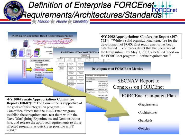 Definition of Enterprise FORCEnet Requirements/Architectures/Standards