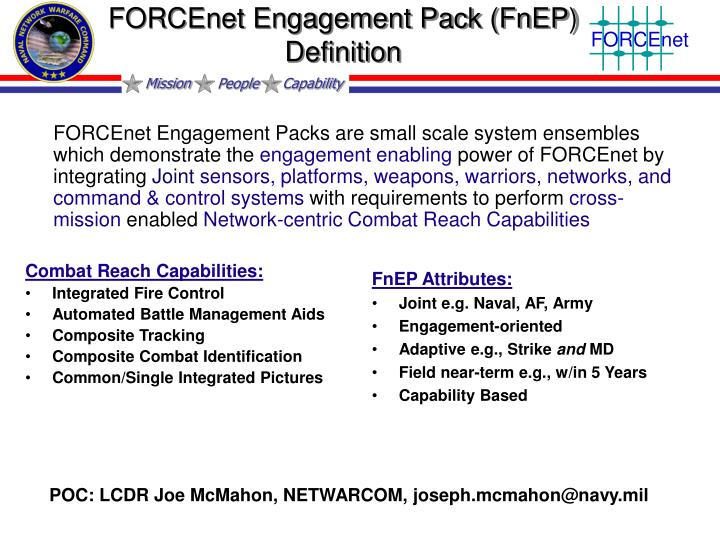 FORCEnet Engagement Pack (FnEP) Definition