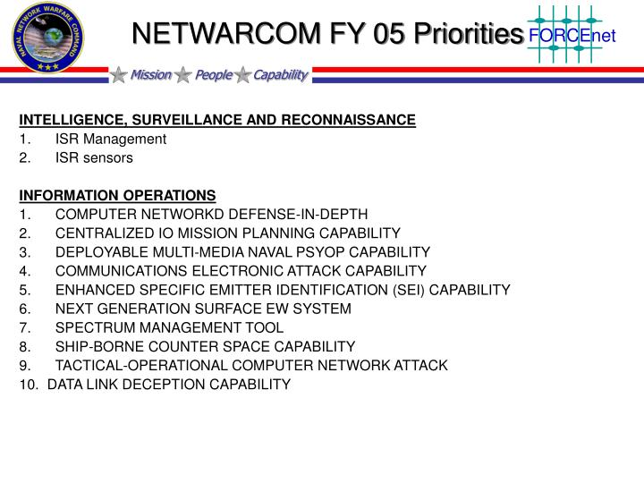 NETWARCOM FY 05 Priorities