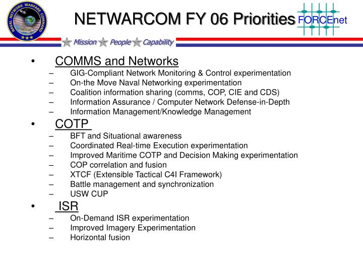 NETWARCOM FY 06 Priorities
