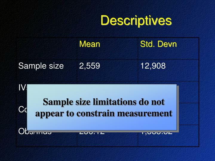 Sample size limitations do not appear to constrain measurement