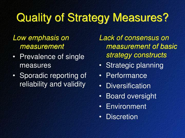 Lack of consensus on measurement of basic strategy constructs