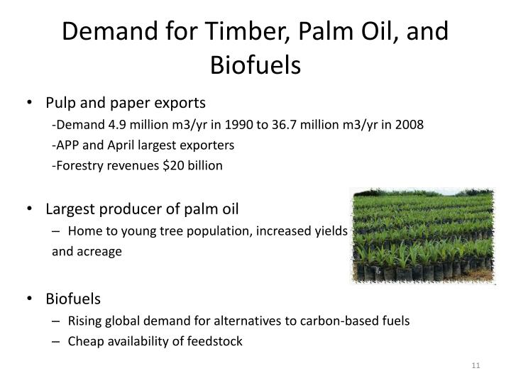Demand for Timber, Palm Oil, and Biofuels