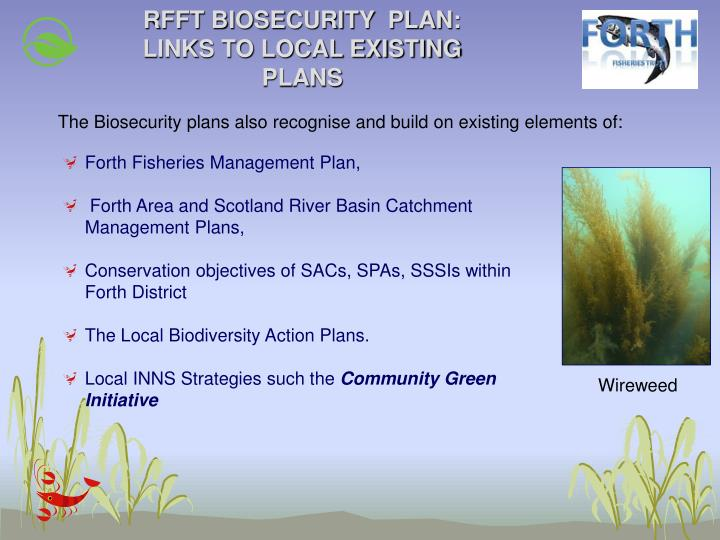 RFFT BIOSECURITY  PLAN: LINKS