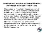 viewing forms a d along with sample student information filled in on forms a and b