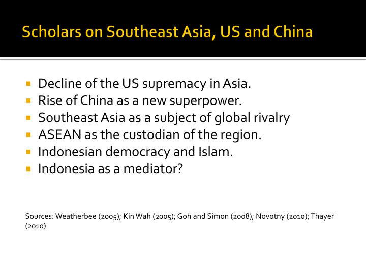 Scholars on Southeast Asia, US and China