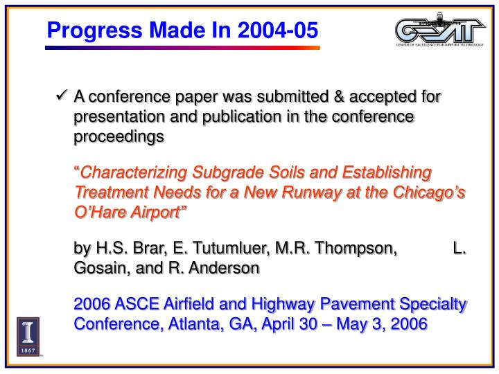 Progress Made In 2004-05