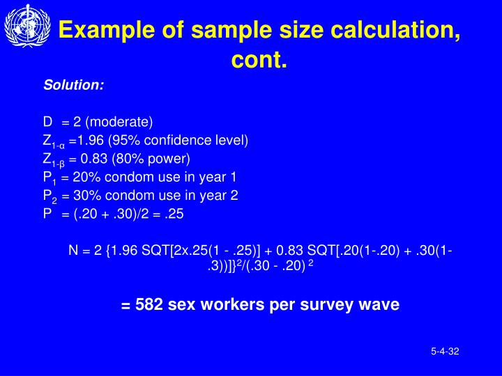 Example of sample size calculation, cont.