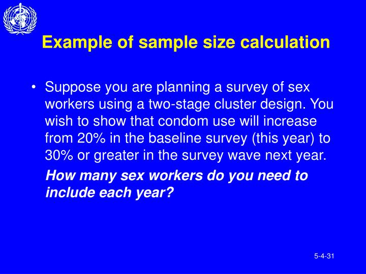 Example of sample size calculation