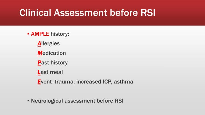 Clinical Assessment before RSI