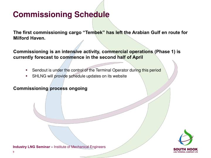 Commissioning Schedule