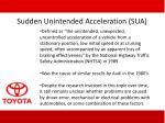 sudden unintended acceleration sua