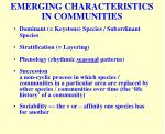emerging characteristics in communities