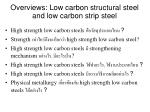 overviews low carbon structural steel and low carbon strip steel