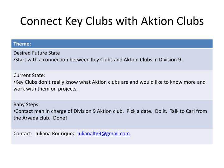 Connect Key Clubs with Aktion Clubs