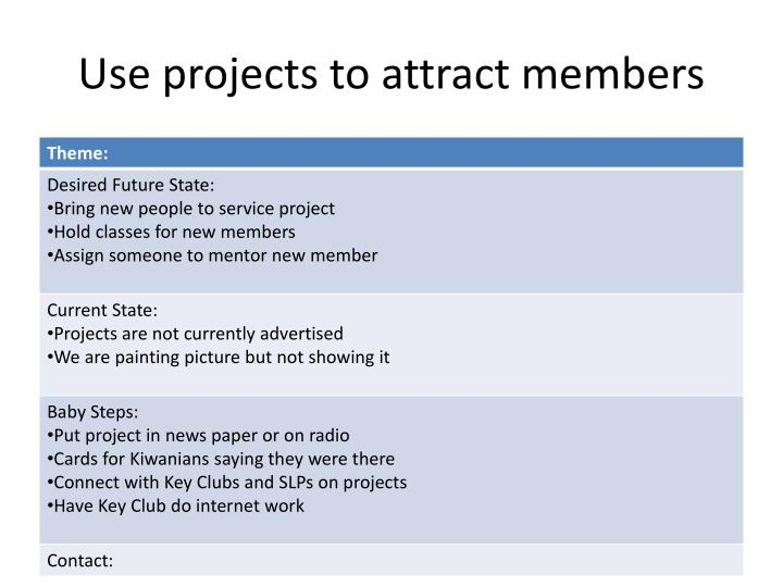 Use projects to attract members