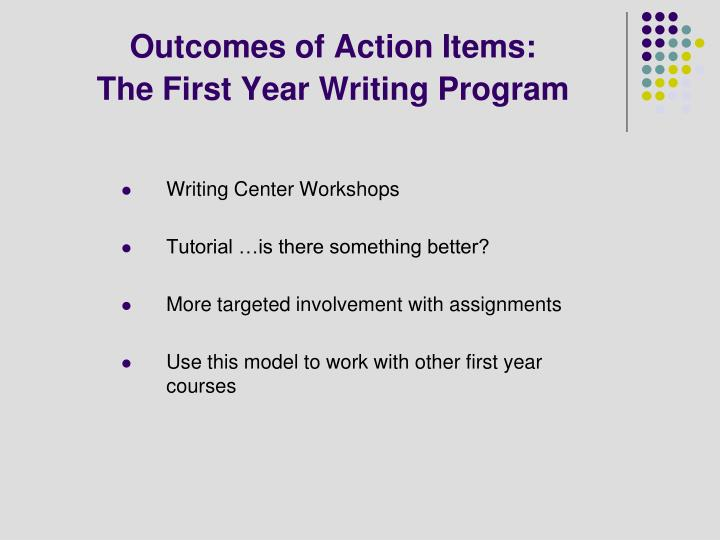 Outcomes of Action Items: