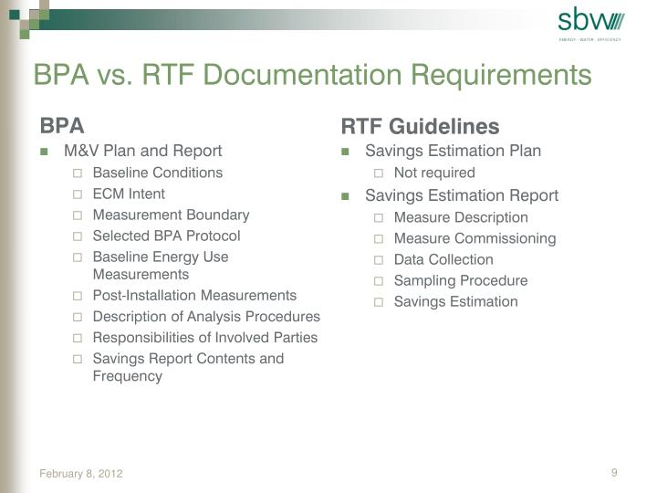 BPA vs. RTF Documentation Requirements