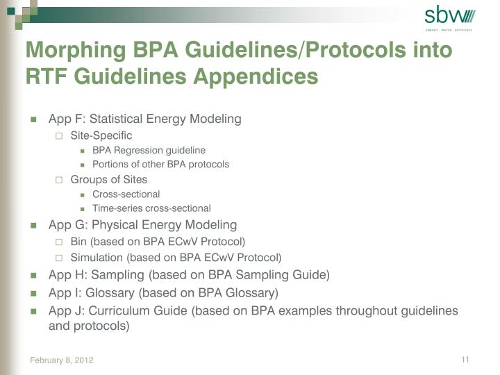 Morphing BPA Guidelines/Protocols into RTF Guidelines Appendices