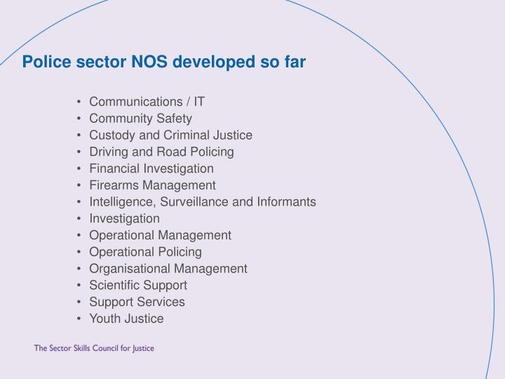 Police sector NOS developed so far