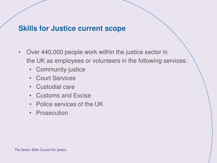 Skills for Justice current scope