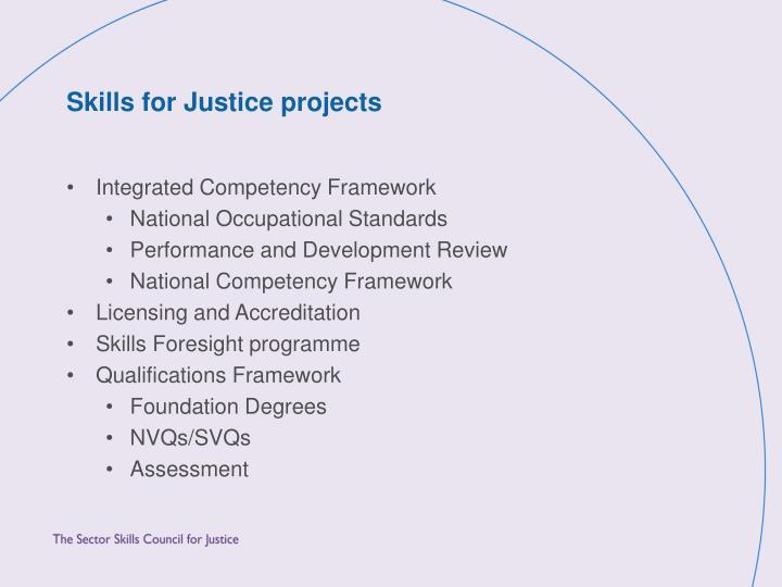Skills for Justice projects