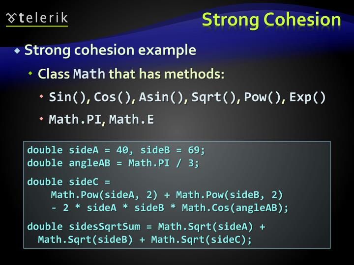 Strong cohesion example