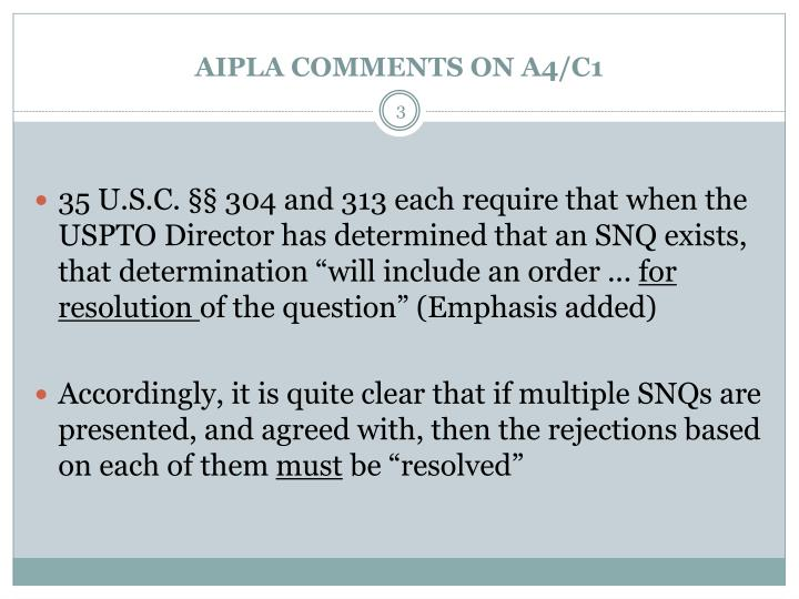 Aipla comments on a4 c11